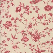 Pondicherry by French General - 5276 - Floral, Red Wildflowers on Cream - 13782 11 - Cotton Fabric